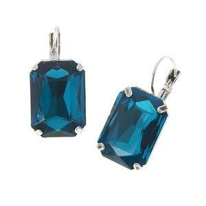 Rich Blue Emerald Cut Crystal EuroWire Earring,NWT